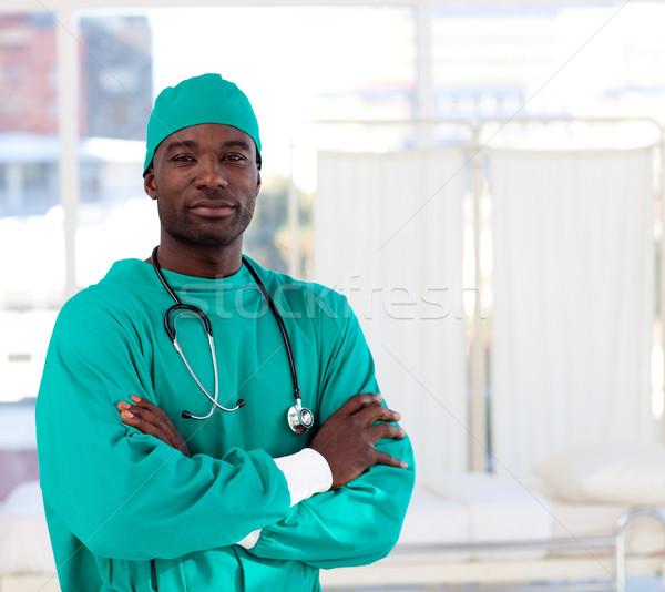 Portret ernstig chirurg naar ziekenhuis camera Stockfoto © wavebreak_media
