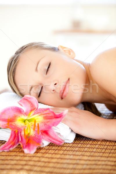 Retrato encantado mulher massagem estância termal flor Foto stock © wavebreak_media