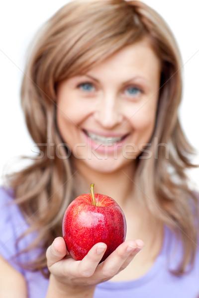Atrakcyjna kobieta jabłko biały żywności szczęśliwy Zdjęcia stock © wavebreak_media