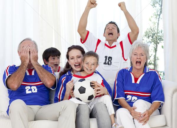 семьи смотрят футбола матча телевидение домой Сток-фото © wavebreak_media