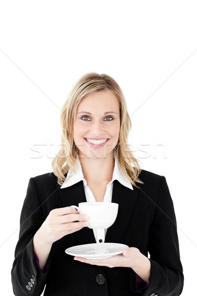 Femme d'affaires tasse café blanche fond espace Photo stock © wavebreak_media