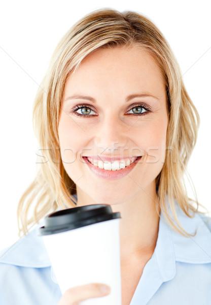 Stockfoto: Portret · mooie · zakenvrouw · koffie · witte