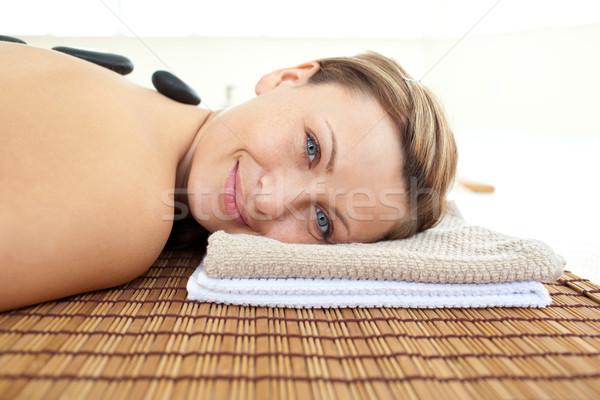 Ritratto gioioso donna massaggio tavola caldo Foto d'archivio © wavebreak_media