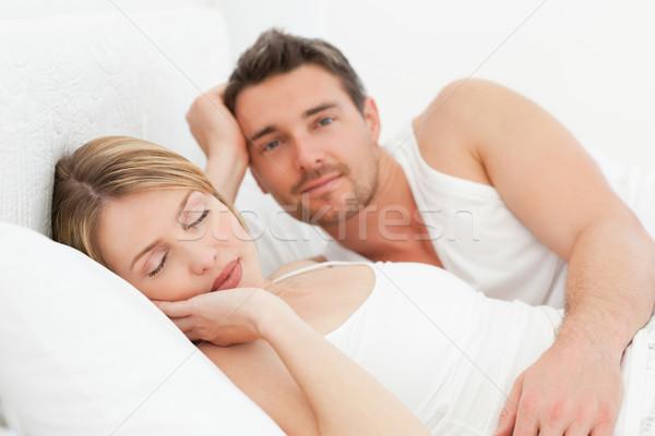 Zdjęcia stock: Chłopak · patrząc · sympatia · snem · kobieta · uśmiech