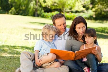 Famiglia guardando photo album parco felice bambino Foto d'archivio © wavebreak_media