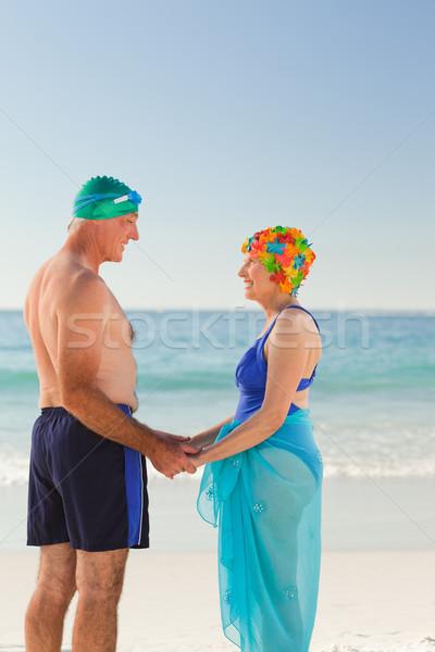 Anziani Coppia spiaggia donna ragazza Foto d'archivio © wavebreak_media