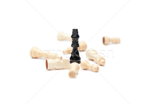 Black king and white pieces of chess on a white background Stock photo © wavebreak_media