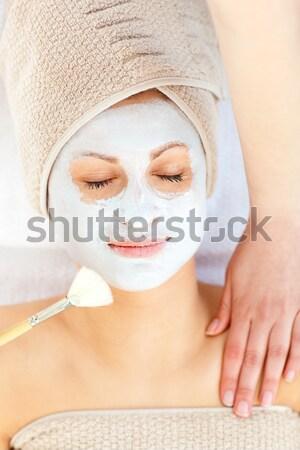 Foto stock: Bonitinho · mulher · massagem · cara · estância · termal · centro