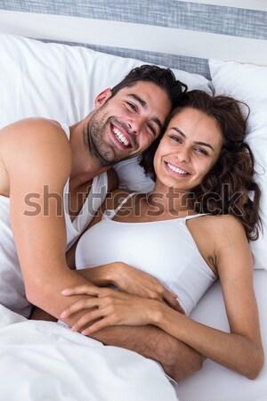 Retrato mulher beijando namorado bochecha sexo Foto stock © wavebreak_media