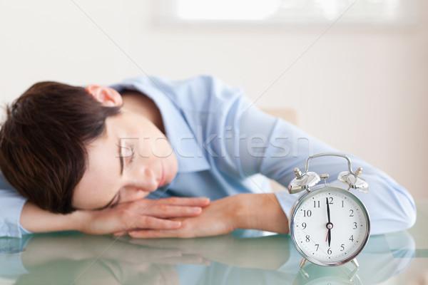 Uyku esmer kadın kafa büro ofis Stok fotoğraf © wavebreak_media