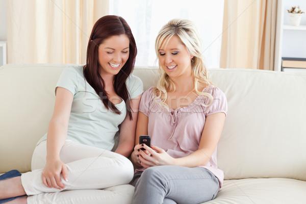 Bájos nők ül kanapé telefon nappali Stock fotó © wavebreak_media