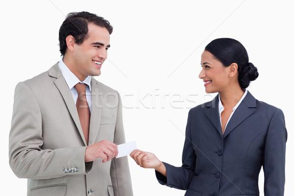 Mosolyog eladó partner névjegyek fehér üzlet Stock fotó © wavebreak_media