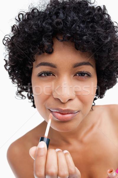Adolescente make-up lábio escove batom Foto stock © wavebreak_media