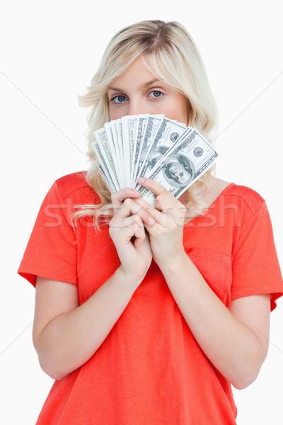 женщину сокрытие лице за доллара банка Сток-фото © wavebreak_media