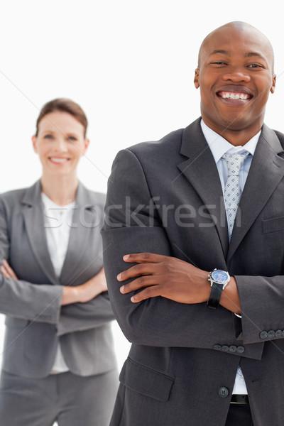 смеясь бизнесмен деловая женщина рук заседание счастливым Сток-фото © wavebreak_media