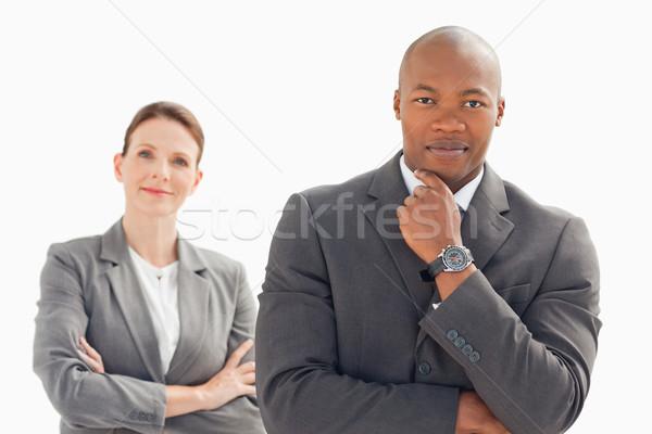 бизнесмен женщину позируют рук заседание счастливым Сток-фото © wavebreak_media