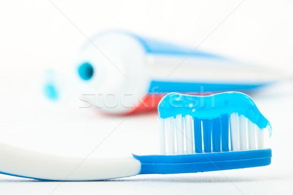 Tandenborstel Blauw tandpasta buis witte Rood Stockfoto © wavebreak_media