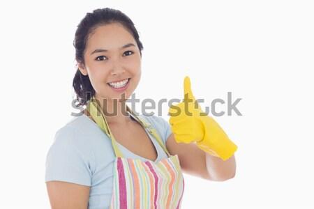 Gelukkig vrouw Geel rubberen handschoenen schort Stockfoto © wavebreak_media