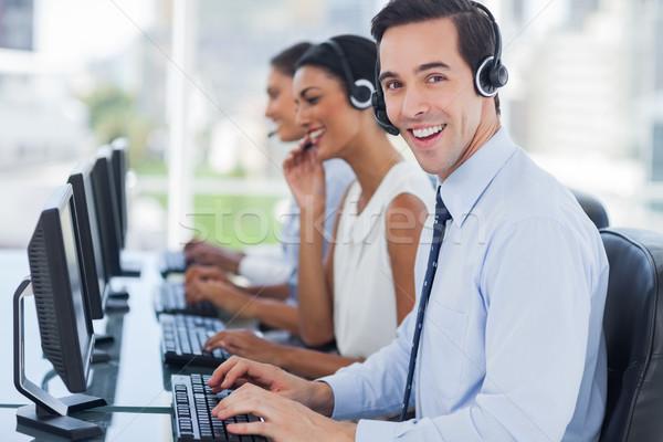 радостный агент рабочих гарнитура команда Сток-фото © wavebreak_media