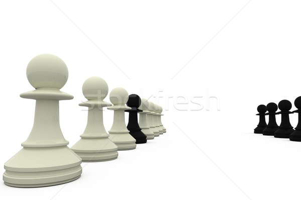 Black pawn spy standing with white pieces Stock photo © wavebreak_media