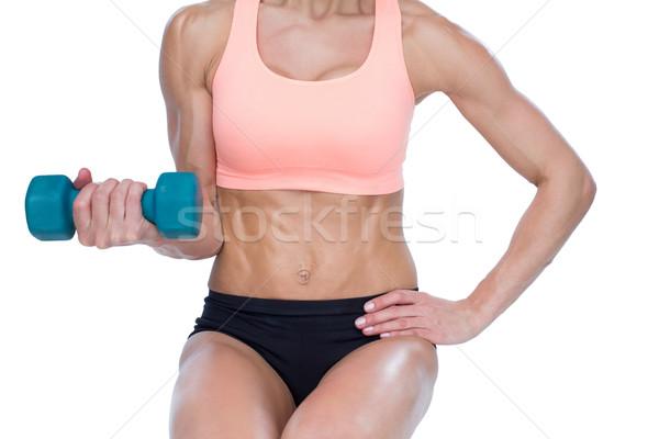 сильный женщину синий белый тело Сток-фото © wavebreak_media