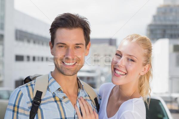 Stockfoto: Heup · glimlachend · camera · stad