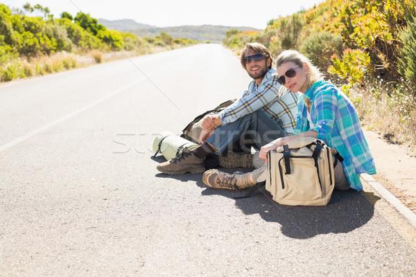 привлекательный пару сидят дороги ждет лифт Сток-фото © wavebreak_media