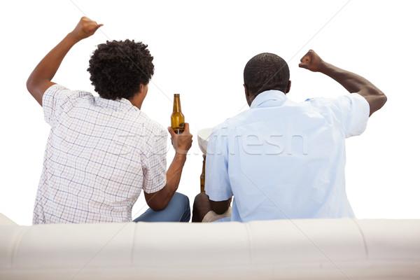 Spor fanlar oturma kanepe spor Stok fotoğraf © wavebreak_media