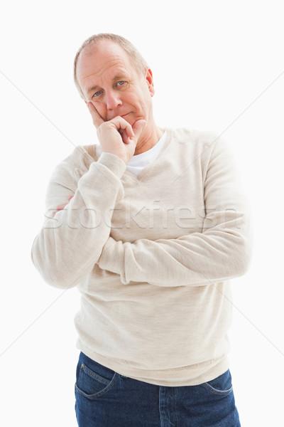 Denken volwassen man hand kin witte portret Stockfoto © wavebreak_media