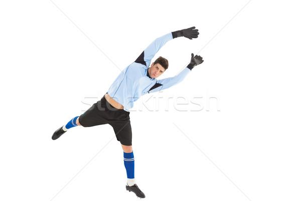 Torhüter blau springen up weiß Fußball Stock foto © wavebreak_media