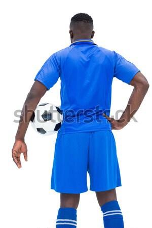 Stock fotó: Hátsó · nézet · komoly · futballista · fehér · férfi · sport