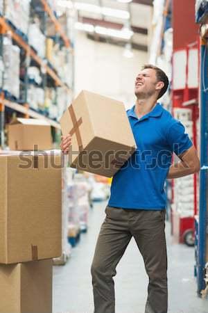 ワーカー 腰痛 ボックス 倉庫 側面図 ストックフォト © wavebreak_media