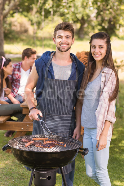 Boldog barátok park barbecue napos idő nő Stock fotó © wavebreak_media