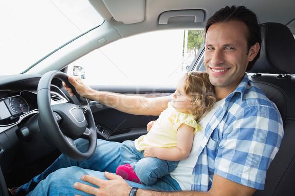 Vader spelen baby zitting auto meisje Stockfoto © wavebreak_media