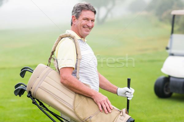 счастливым гольфист гольф за туманный день Сток-фото © wavebreak_media