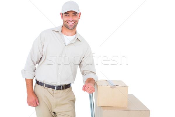 Futár karton dobozok portré fehér férfi Stock fotó © wavebreak_media