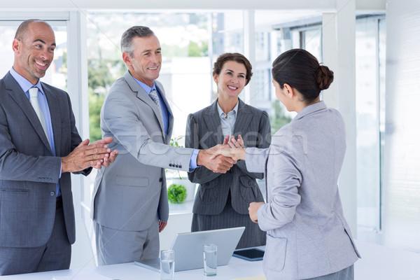 Interjú panel kézfogás pályázó iroda üzlet Stock fotó © wavebreak_media