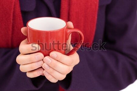 Composite image of close up of a woman in warm clothing holding  Stock photo © wavebreak_media