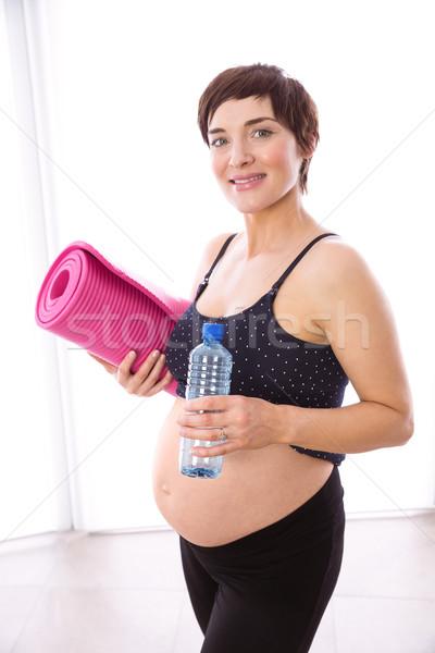 Stock fotó: Terhes · nő · forma · otthon · víz · ház · egészség