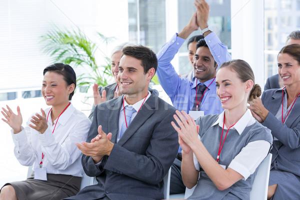 üzleti csapat tapsol konferencia iroda nő öltöny Stock fotó © wavebreak_media
