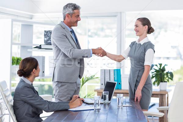 Business people shake hands during interview Stock photo © wavebreak_media