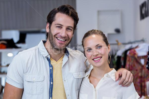Portré boldog pár mosolyog ruházat bolt Stock fotó © wavebreak_media