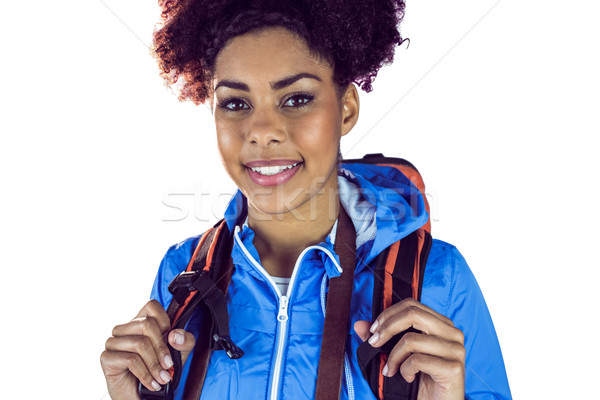 Close up view of a young woman with camera and backpack Stock photo © wavebreak_media