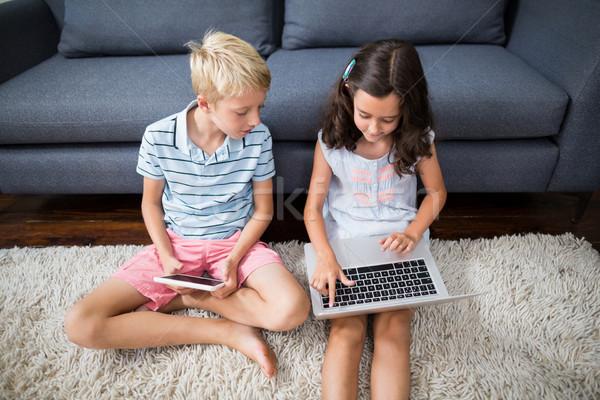 Testvérek digitális tabletta laptop nappali otthon Stock fotó © wavebreak_media