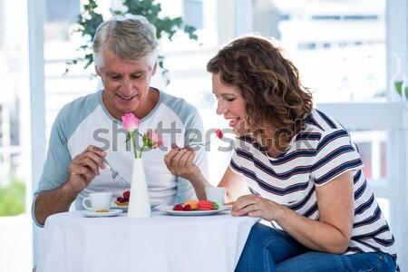 Homem mulher refeição restaurante comida vinho Foto stock © wavebreak_media