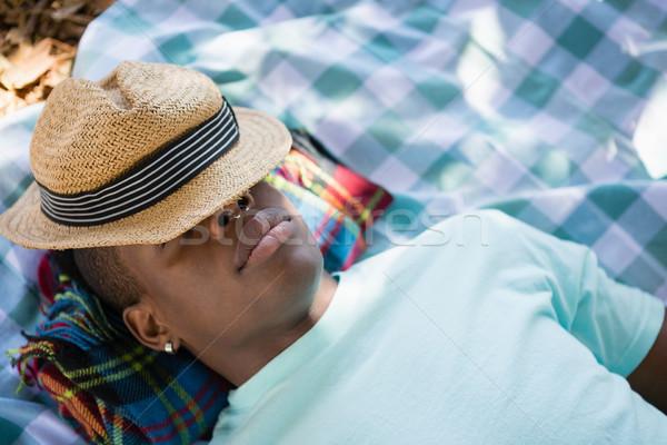 человека спальный пикник одеяло Hat лице парка Сток-фото © wavebreak_media