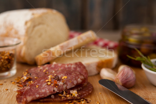 Close up of chili flakes on meat Stock photo © wavebreak_media