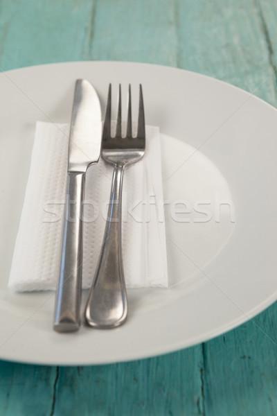 Biały tablicy sztućce serwetka tabeli Zdjęcia stock © wavebreak_media