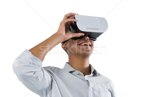 Hombre virtual realidad auricular blanco información Foto stock © wavebreak_media