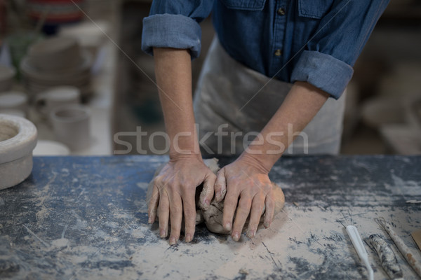 Mid section of female potter molding a clay Stock photo © wavebreak_media